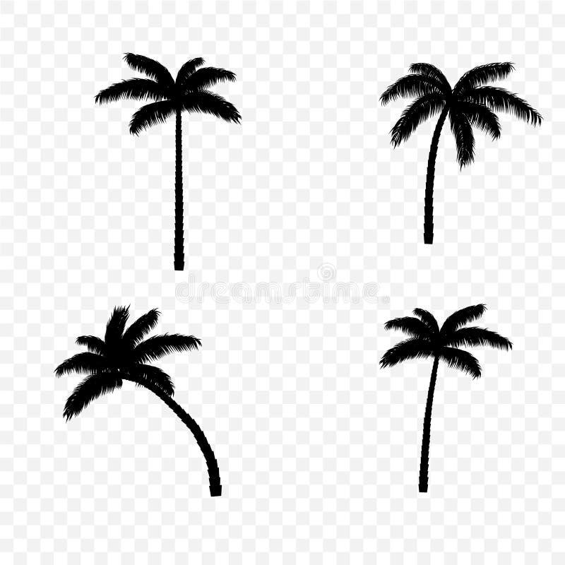 棕榈树剪影集合 库存例证