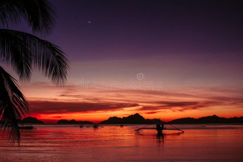 棕榈树和小船剪影在明亮的日落天空背景 在热带海滩的风景日落与在背景的山 库存图片