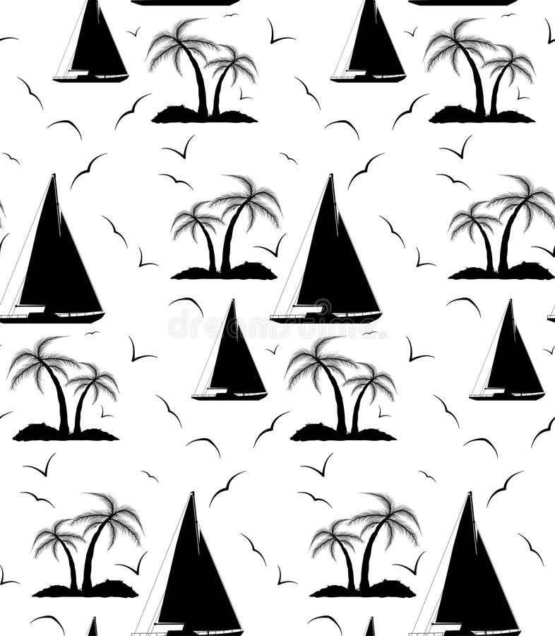 棕榈树和帆船的一个无缝的重复的样式 库存例证