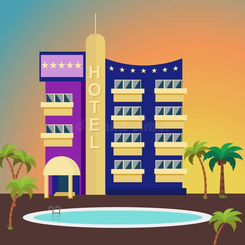 棕榈树和游泳池围拢的五颜六色的背景的豪华旅馆 编译的外部 库存例证