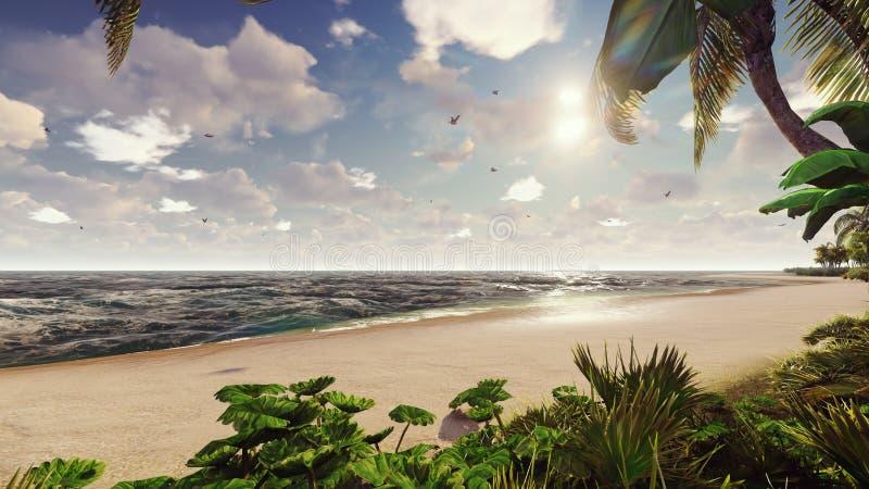 棕榈树和热带植物分支风的在日出 3d?? 向量例证