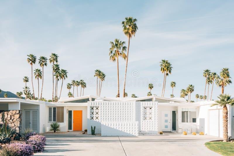 棕榈树和现代房子在棕榈泉,加利福尼亚 免版税图库摄影