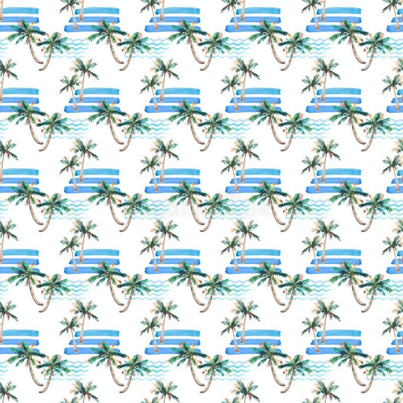 棕榈树和s的美好的明亮的美妙的抽象逗人喜爱的绿色热带可爱的美妙的夏威夷花卉草本夏天样式 库存例证