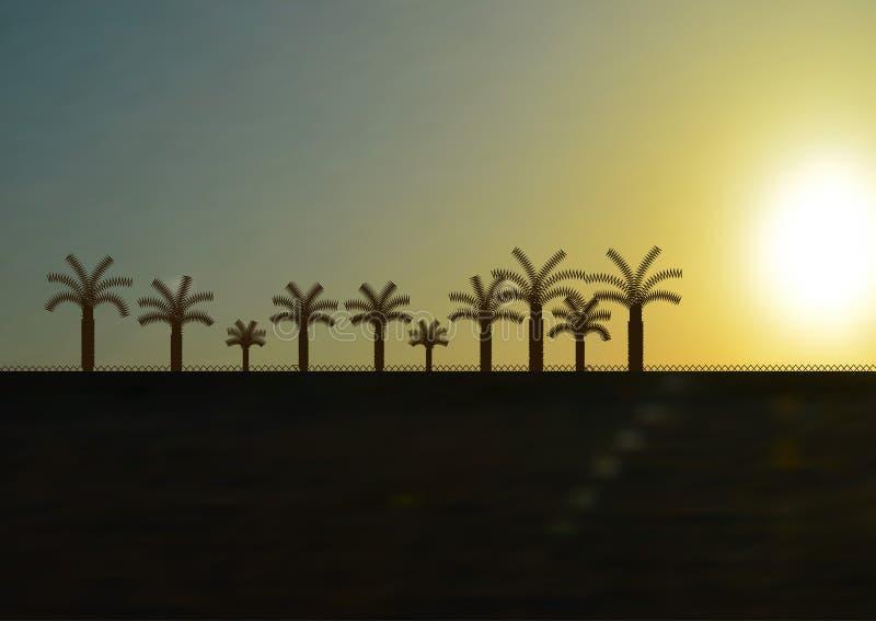 棕榈树在沙漠 免版税库存图片
