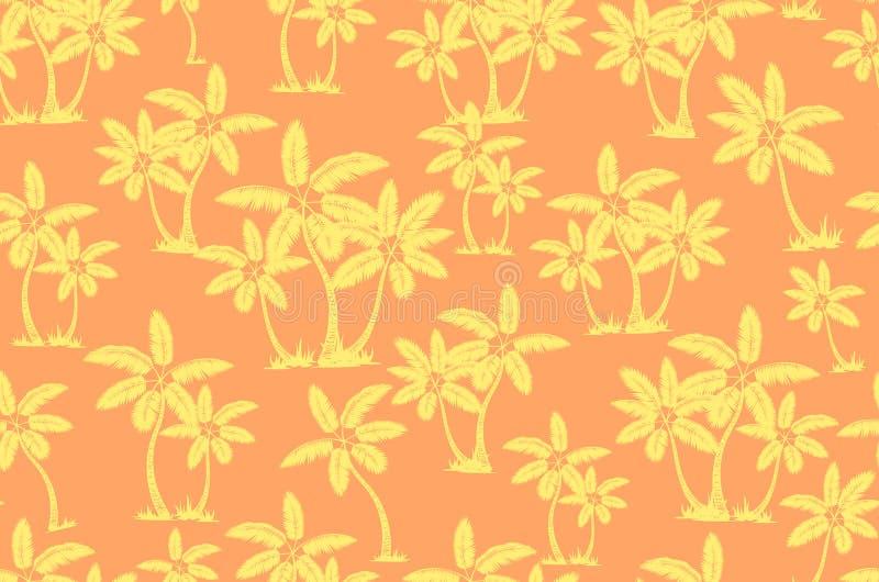 E 棕榈树夏天不尽的手拉的传染媒介背景可以为墙纸使用,包裹 皇族释放例证