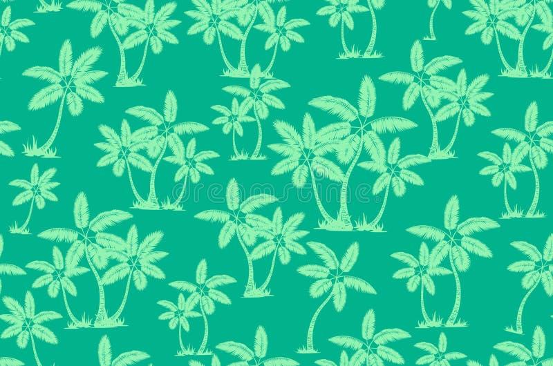 E 棕榈树夏天不尽的手拉的传染媒介背景可以为墙纸使用,包裹 库存例证