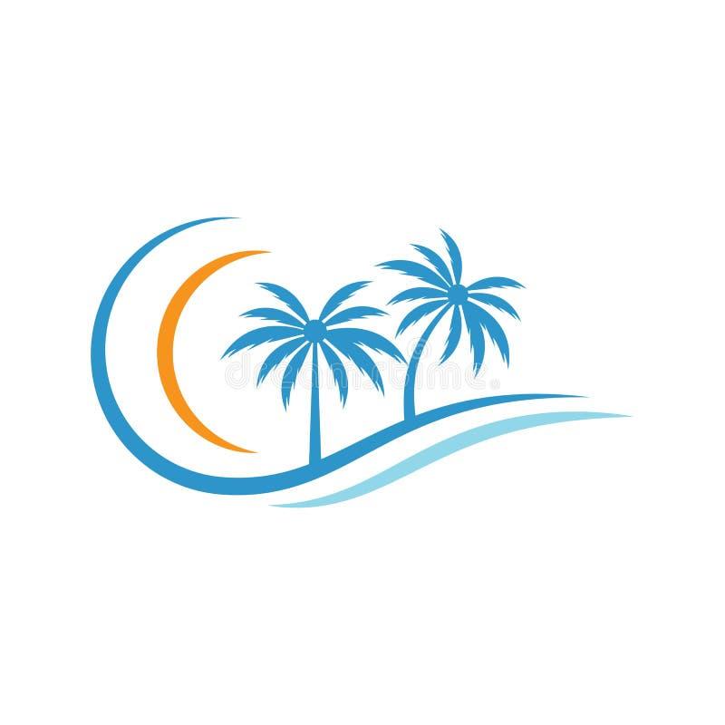 棕榈树夏天商标 向量例证
