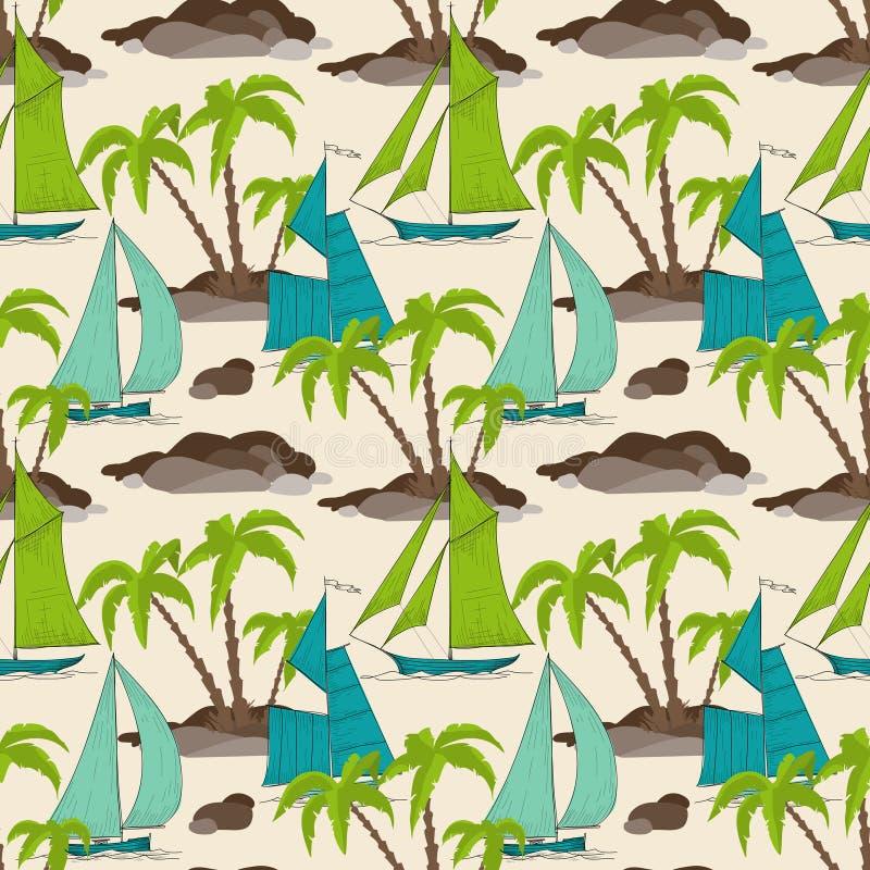 棕榈树海岛和小船 库存例证