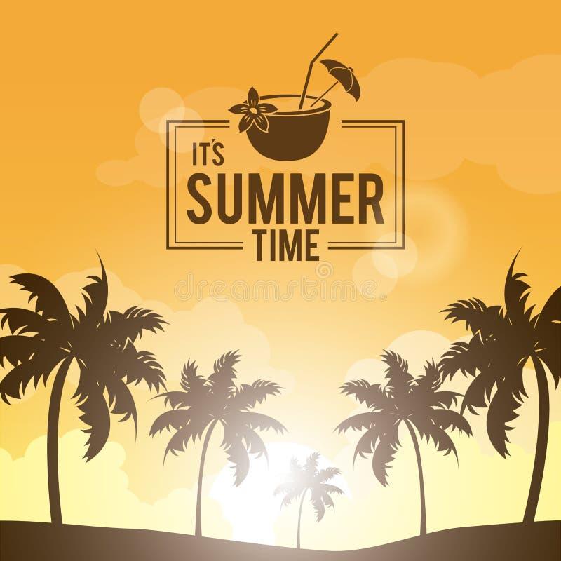 棕榈树海报风景在海滩的与商标夏时和鸡尾酒椰子 皇族释放例证
