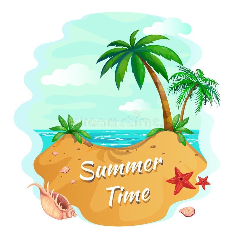 棕榈树海滩 与沙子海岸海滩和棕榈树,马尔代夫热带背景的海洋日落 田园诗夏天传染媒介 向量例证