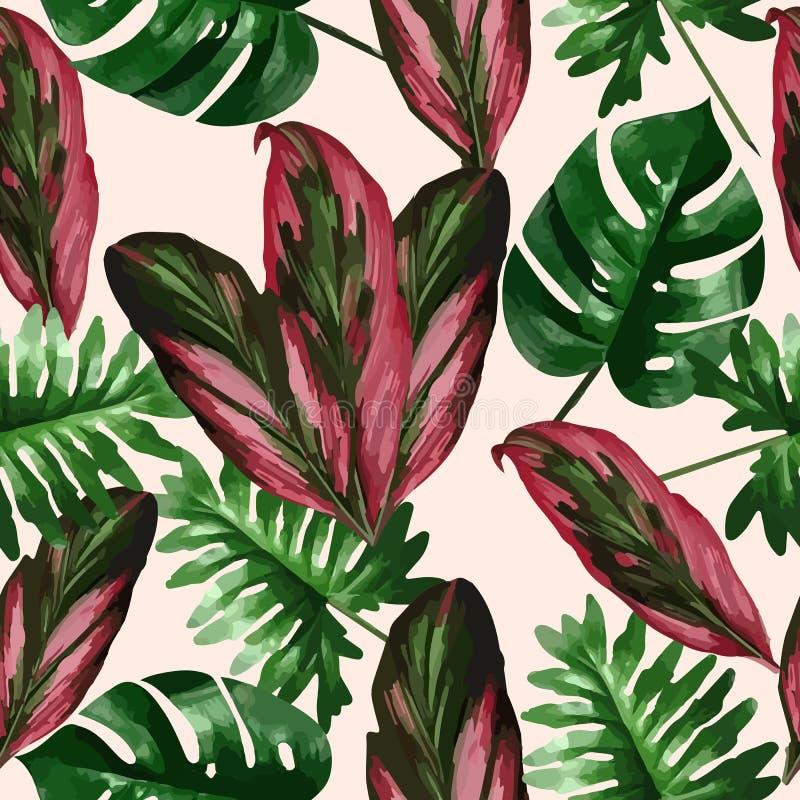 棕榈树热带叶子和花  无缝的模式 库存例证