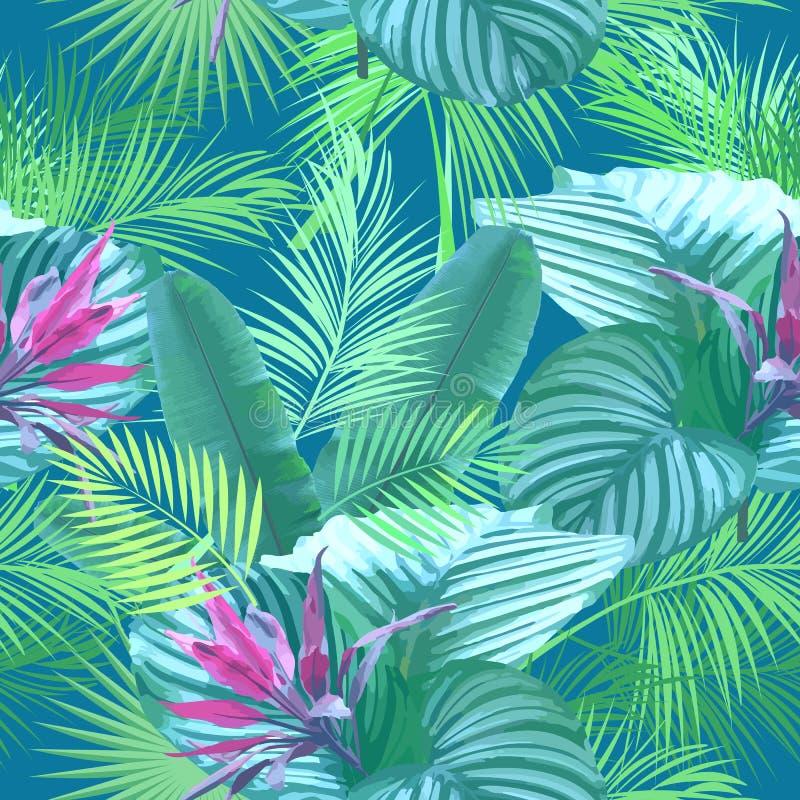 棕榈树热带叶子和花  无缝的模式 向量例证