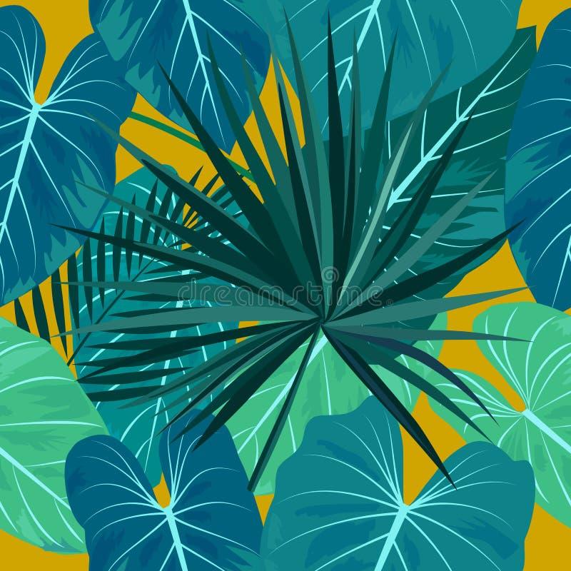 棕榈树热带叶子的无缝的样式  库存例证