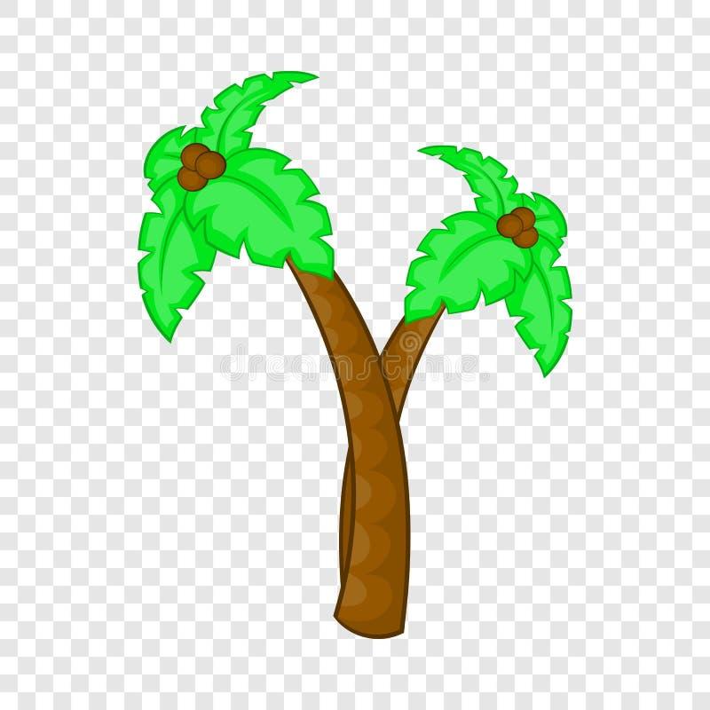 棕榈树用椰子象,动画片样式 向量例证