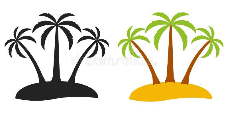 棕榈树荒岛,旅游业的传染媒介商标在海岛,平的可笑的动画片样式上的三棵棕榈树 向量例证