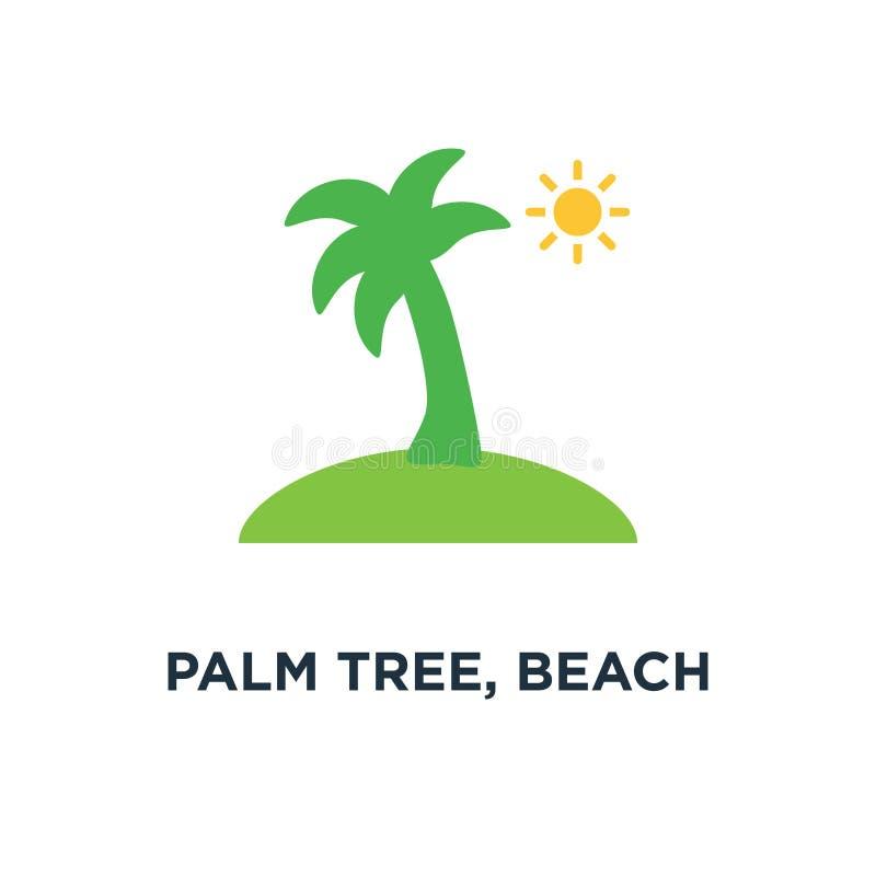 棕榈树,海滩海岛标志象 旅行概念标志设计 库存例证