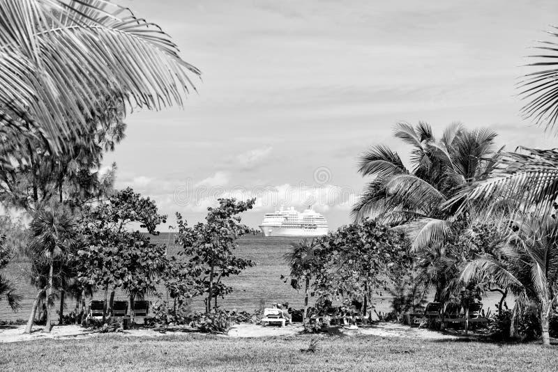 棕榈树,白色游轮在海滩的绿松石海 免版税库存照片