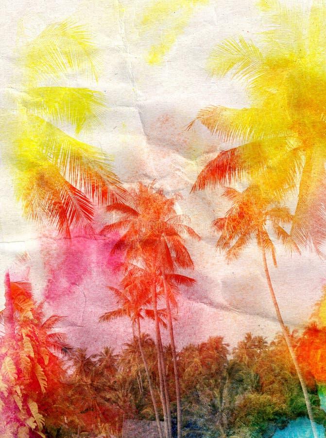 棕榈树水彩剪影  皇族释放例证