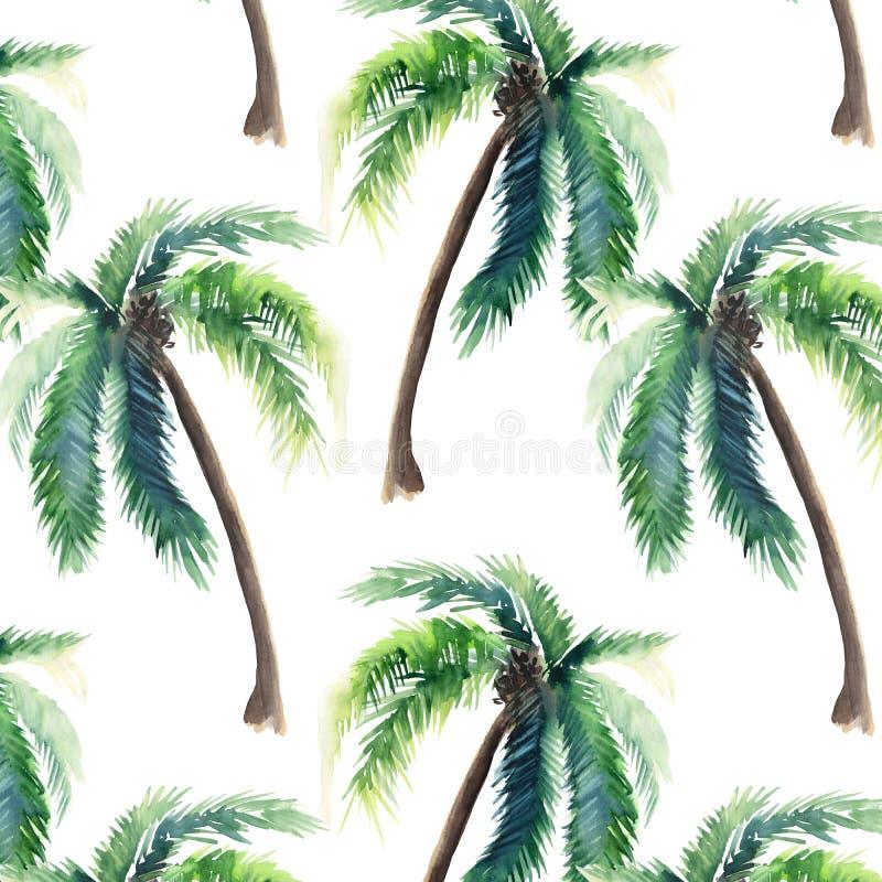 棕榈树水彩手剪影的美好的明亮的逗人喜爱的绿色热带可爱的美妙的夏威夷花卉草本夏天样式 向量例证