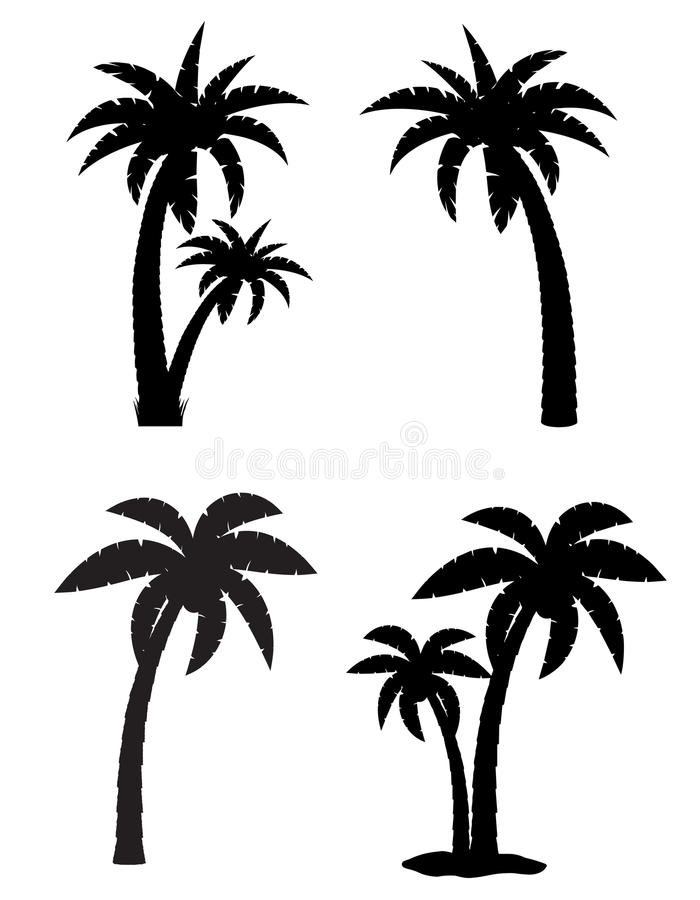 棕榈热带树集合象黑剪影 向量例证