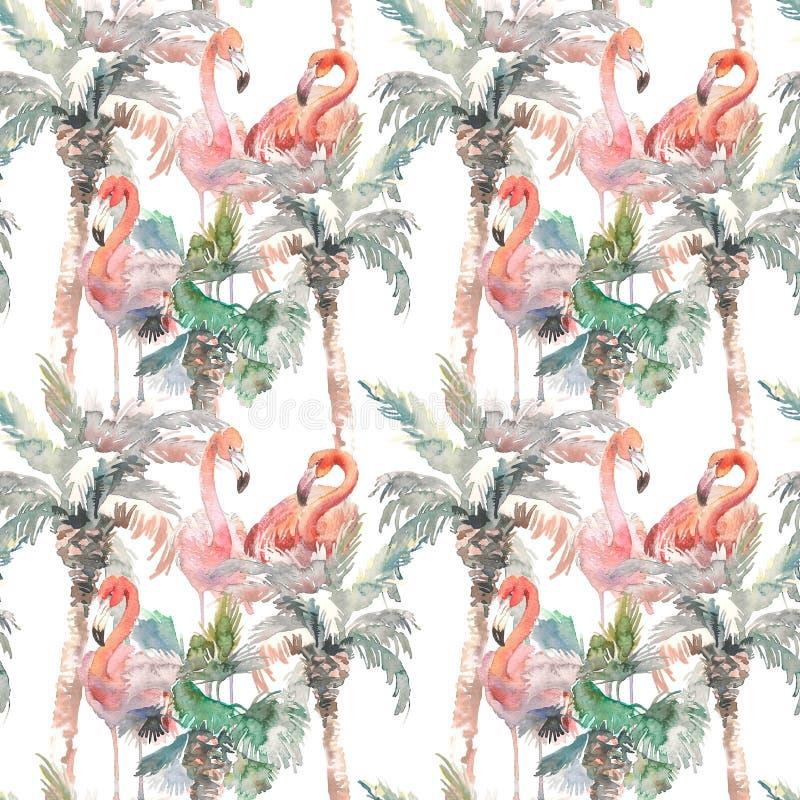棕榈的水彩无缝的样式有火鸟的在白色背景,您的设计的手拉的例证 为 向量例证