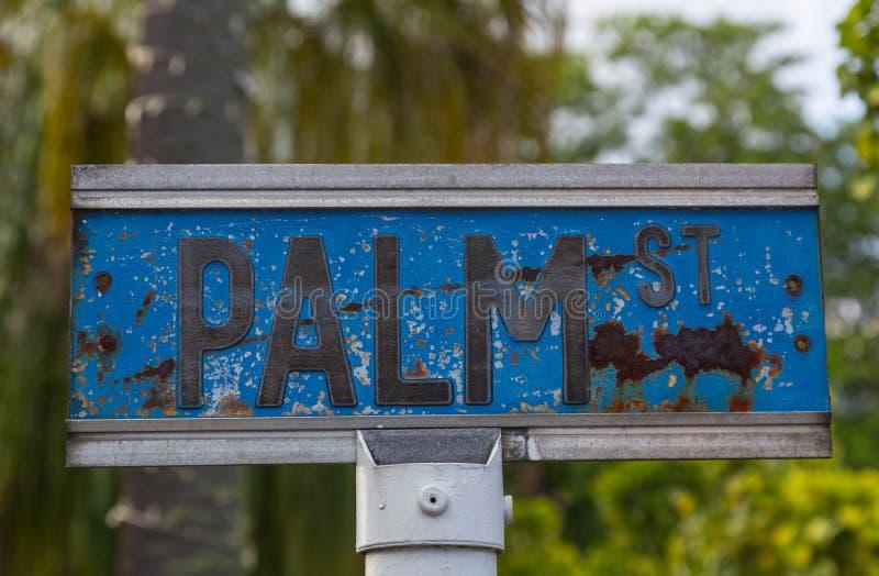 棕榈路牌维多利亚Mahe塞舌尔群岛 库存图片
