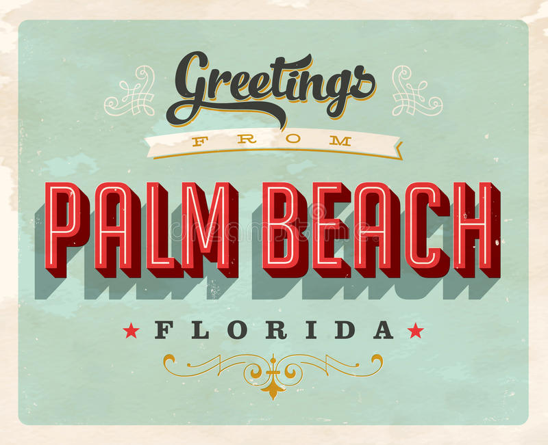 从棕榈滩假期卡片的葡萄酒问候 库存例证