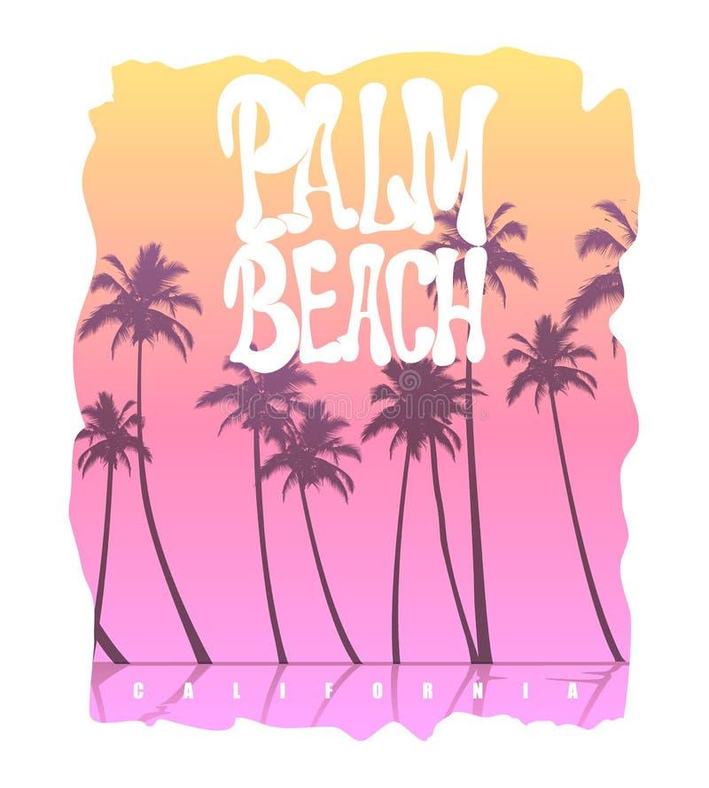 棕榈滩加利福尼亚T恤杉图表 向量例证