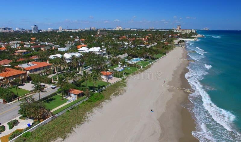 棕榈滩的水彩,佛罗里达鸟瞰图  免版税库存照片