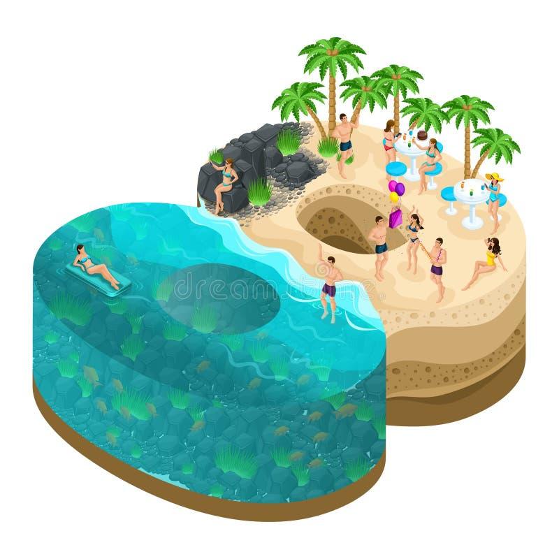 棕榈8, 3月8日的3d海岛的Sometry  国际妇女` s天 一个美妙的海岛,人基于天堂海岛 向量例证