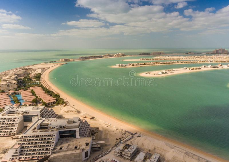 棕榈Jumeirah海岛,迪拜鸟瞰图  库存照片