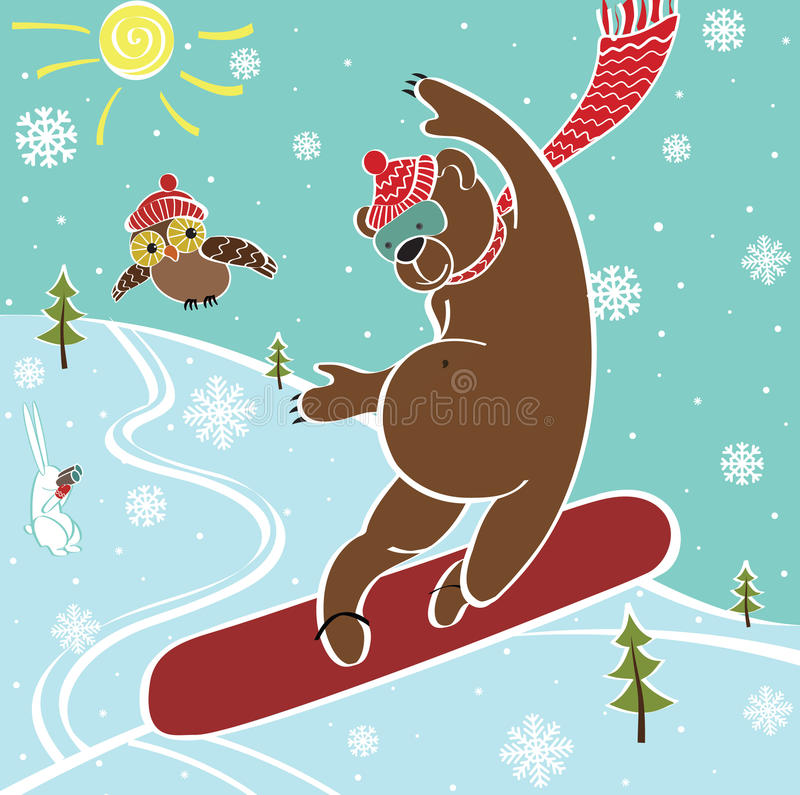 棕熊在雪板跳。幽默例证 皇族释放例证