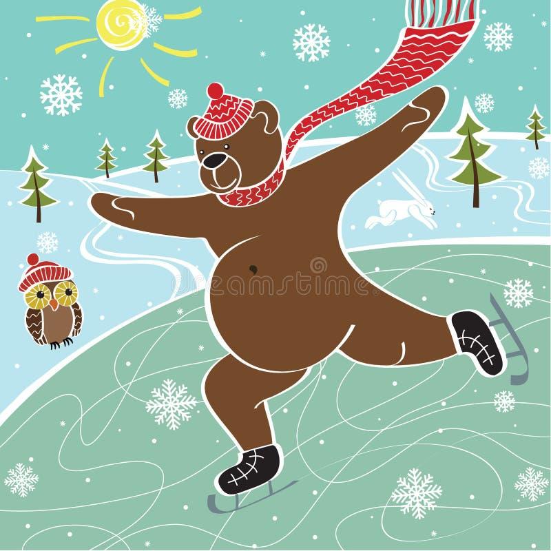 棕熊在滑冰场滑冰。幽默例证 皇族释放例证