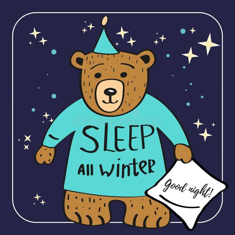 棕熊漫画人物 睡觉所有冬天 晚上好背景 向量例证