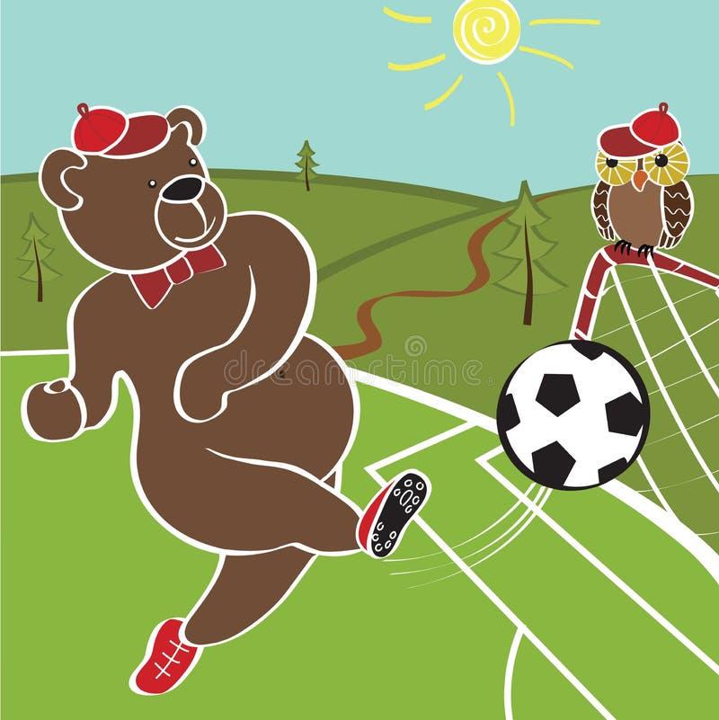 棕熊踢橄榄球 动画片幽默例证 库存例证