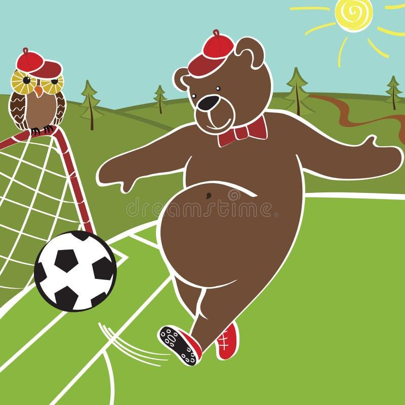 棕熊踢橄榄球 动画片幽默例证 皇族释放例证