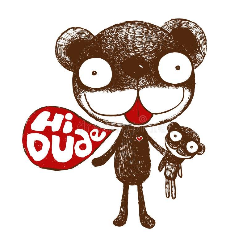 棕熊,逗人喜爱的熊例证,友好的熊,二重奏熊,字符动画片,传染媒介 库存例证