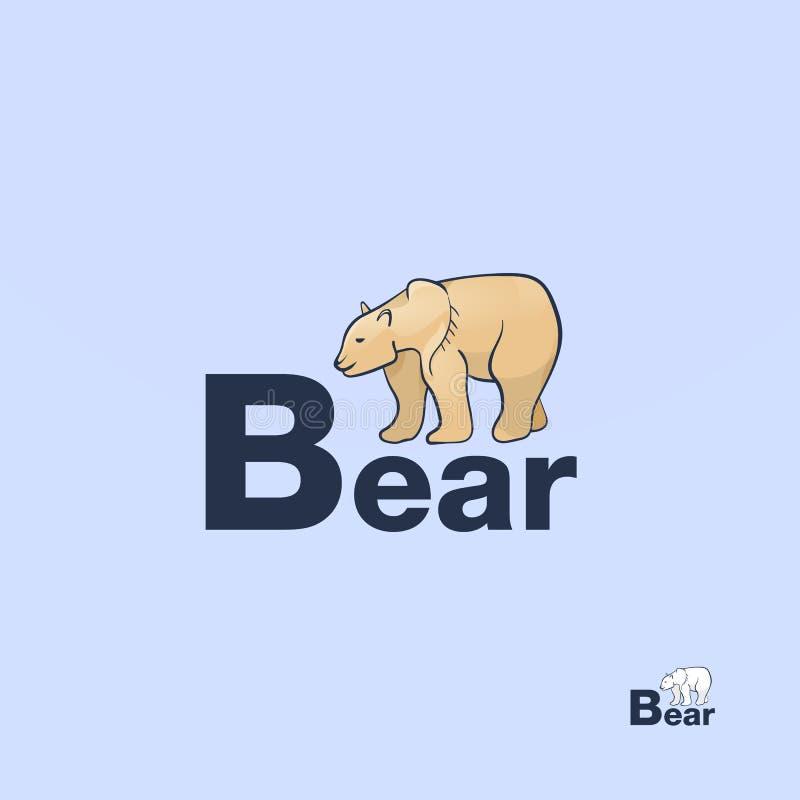 棕熊 搜寻为食物的Grizzley熊 北极被隔绝的熊手拉的剪影 皇族释放例证