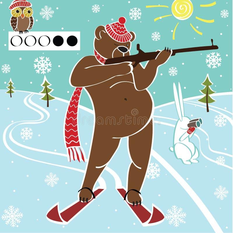 棕熊biathlete瞄准。幽默例证。 库存例证