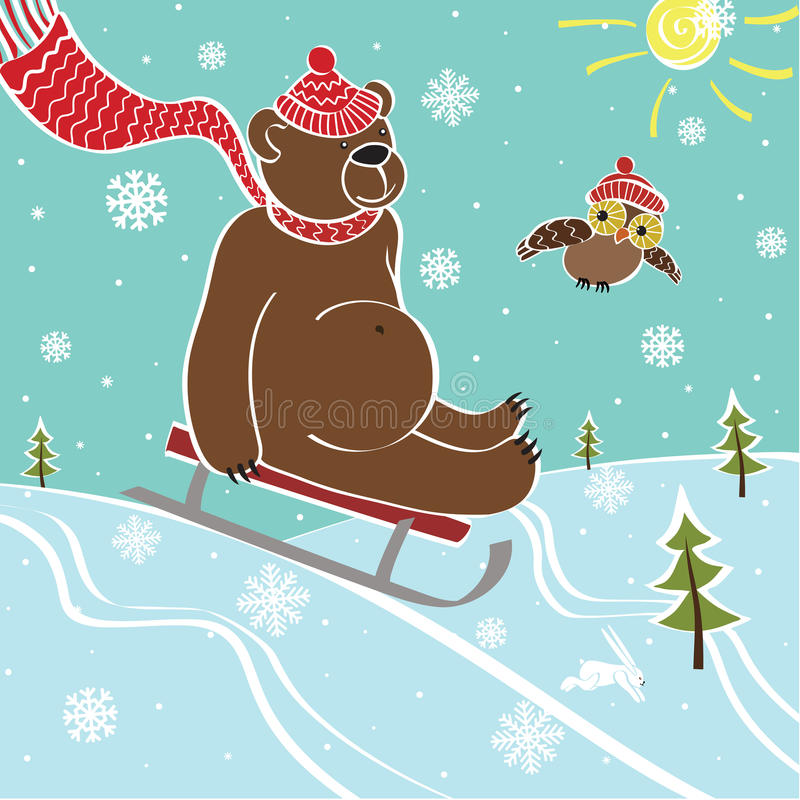 棕熊sledding本质上。幽默例证 库存例证