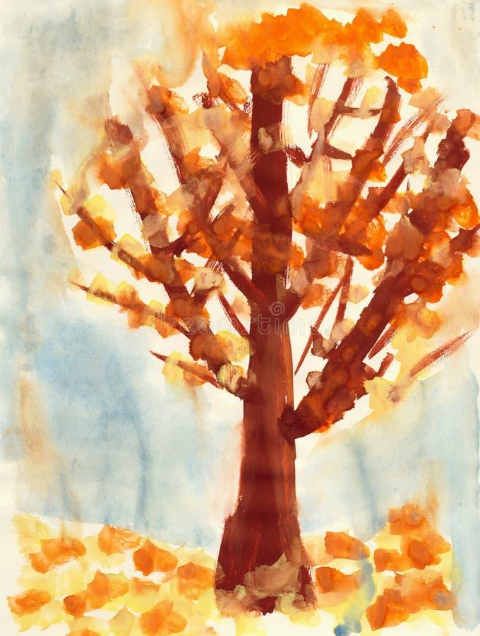 棕色儿童画纸结构树 皇族释放例证