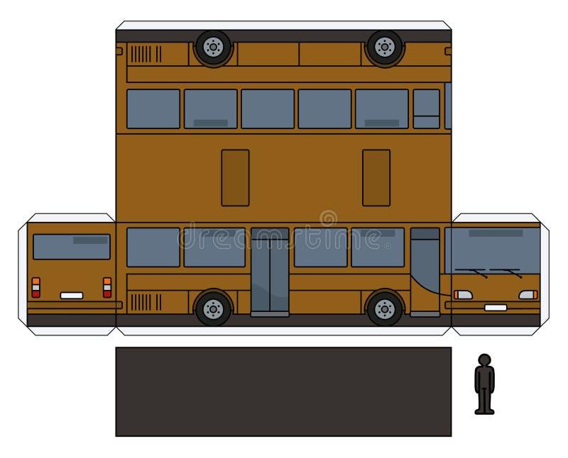 棕色公共汽车的纸模型 库存例证
