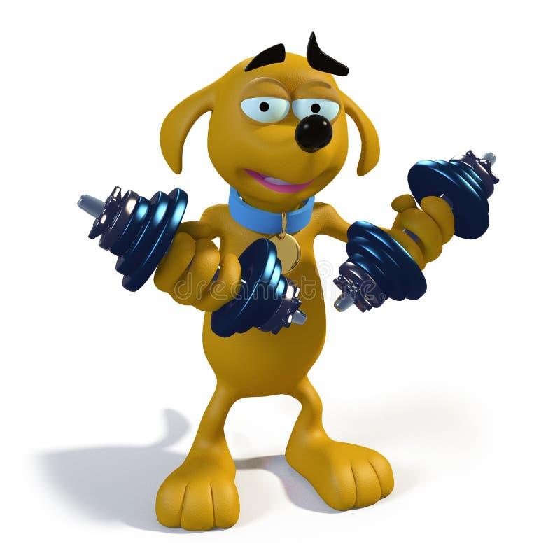 棕色动画片狗增强的重量 向量例证