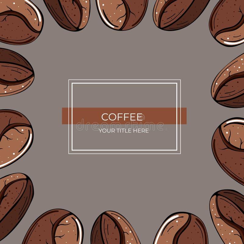 棕色咖啡粒特写镜头方形的框架在灰色背景的 向量例证