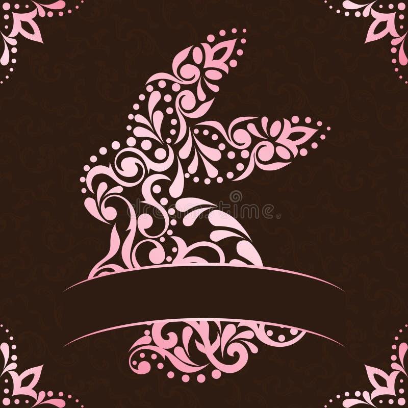 棕色复活节典雅的框架粉红色正方形
