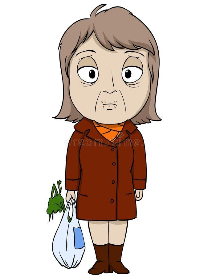 棕色外套的动画片老妇人 皇族释放例证