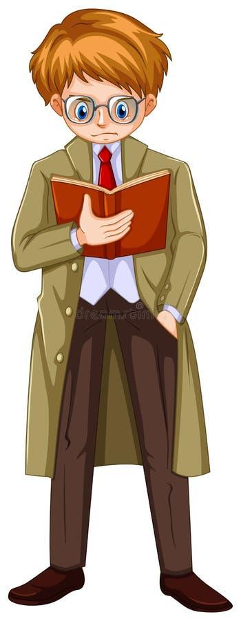 棕色大衣阅读书的人 向量例证