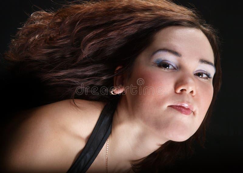 棕色女孩头发 免版税库存照片
