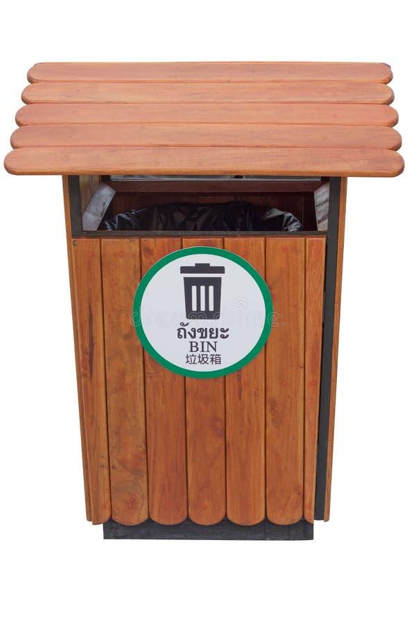 棕色容器有三语的泰国、英语和瓷isol 免版税库存照片