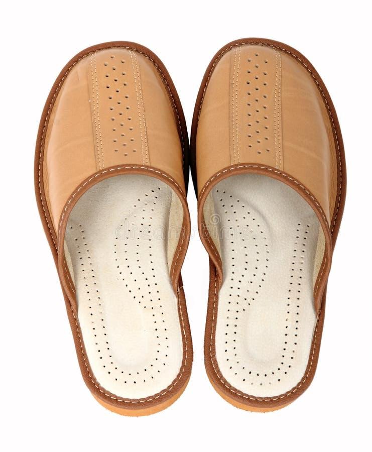 棕色对拖鞋 库存照片